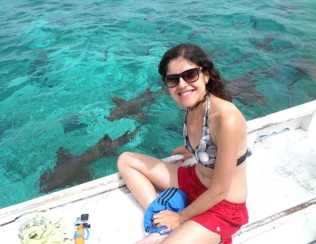 Como a água é cristalina, mesmo do barco é possível ver bem os tubarões!