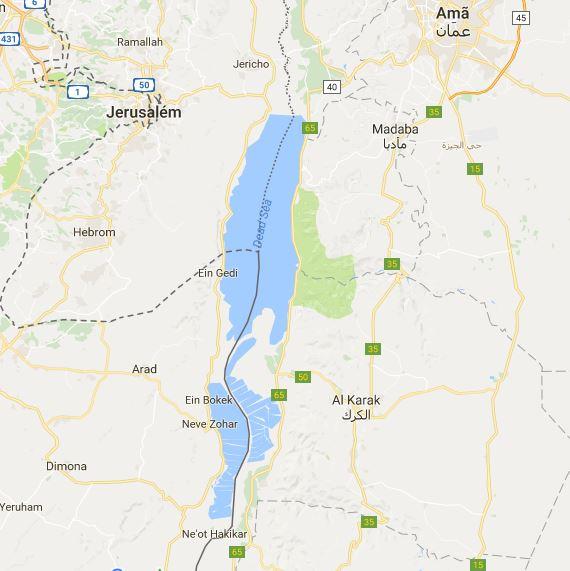 mapa do mar morto israel jordânia