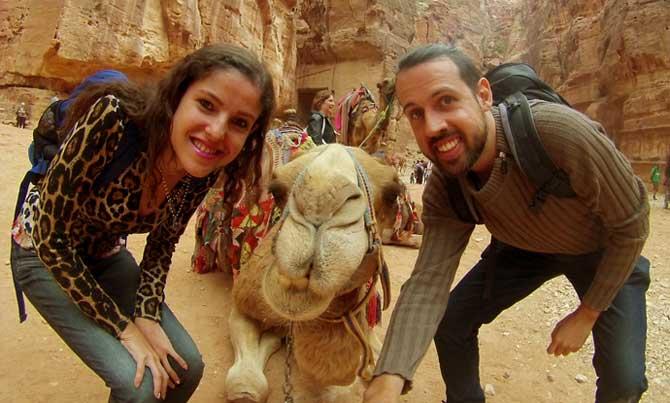 selfie com camelo petra